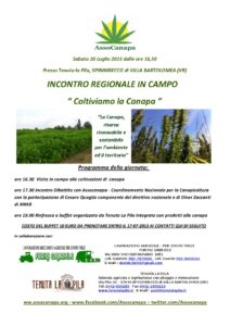 """Assocanapa organizza l'incoltro """"Coltivare la canapa"""", il prossimo 20 luglio in provincia di Verona"""